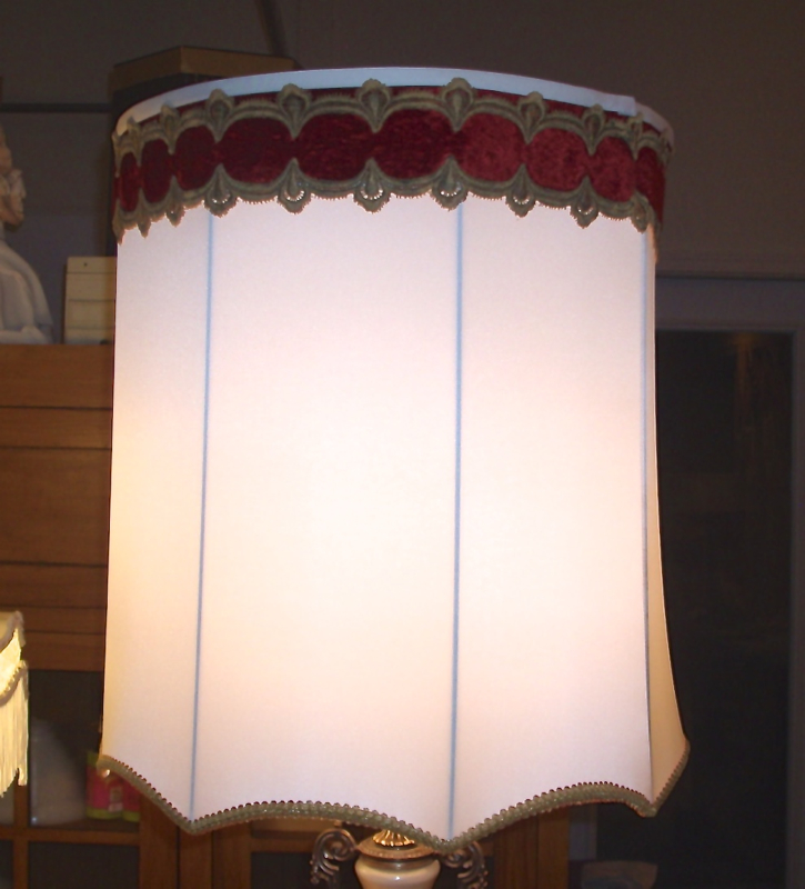 2014 LampShade Restoration Projects:lampshade, drum, scallope, vintage, trim, restore, recover, repair,,Lighting
