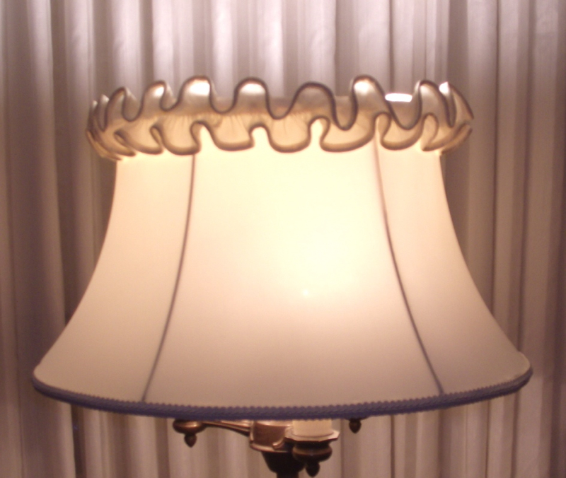 lampshade, bell, restore, vintage, trim. ruffle, replace, cover, shad