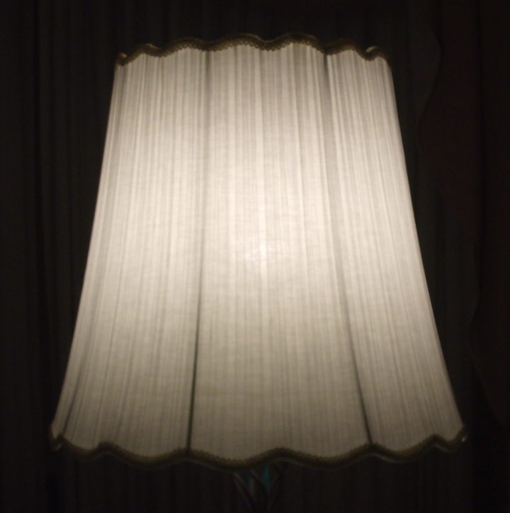 lampshade, pleated, recovered, restored