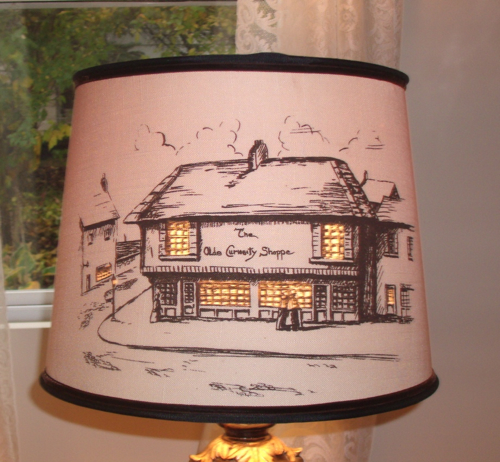 lampshade, stencil, vintage, country, shade