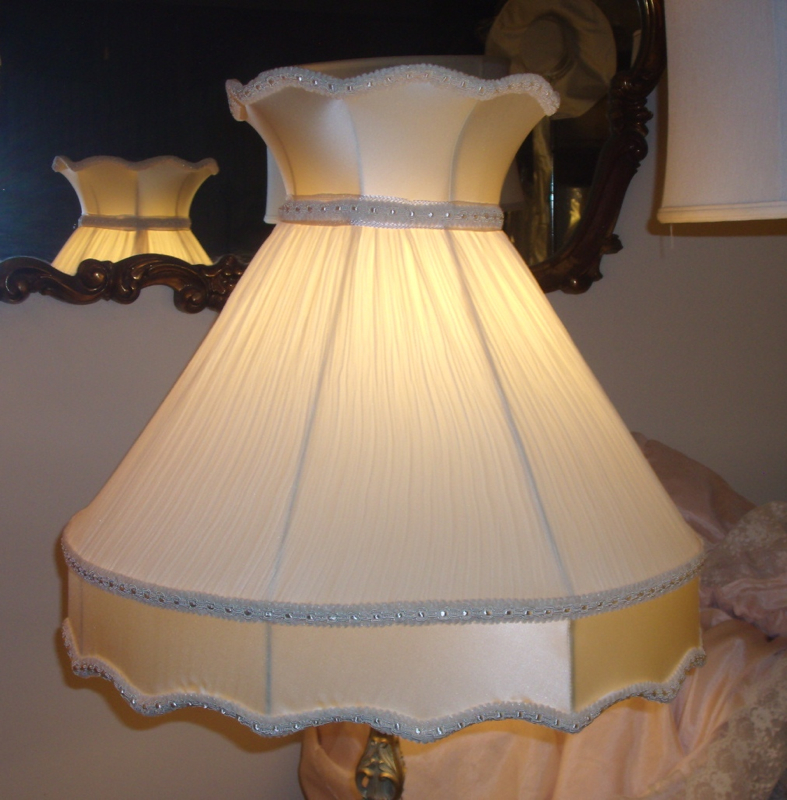 lampshade, victorian, crown, pleated, silk, vintage, restore