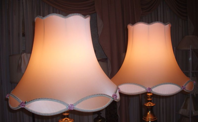 vintage, lampshades, victorian, scalloped, pink liners, shade