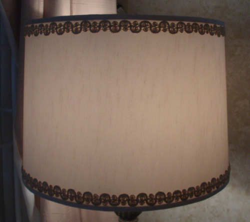 lampshade, rembrandt, vintage, trim, restore, fabric laminated styrene cover