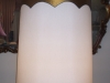 lampshade, shantung, styrene, tall, drum, vintage, trim, restored, repaired