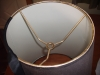 lampshade, brown linen, cone, wire reattached