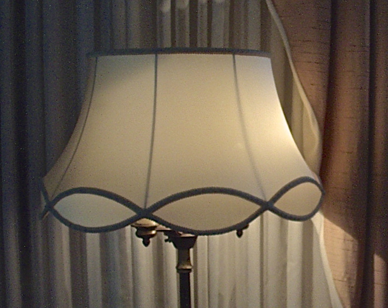 Lampshade, Vintage, Scallop, Silk, Restored, Recovered, Replaced, Shade,
