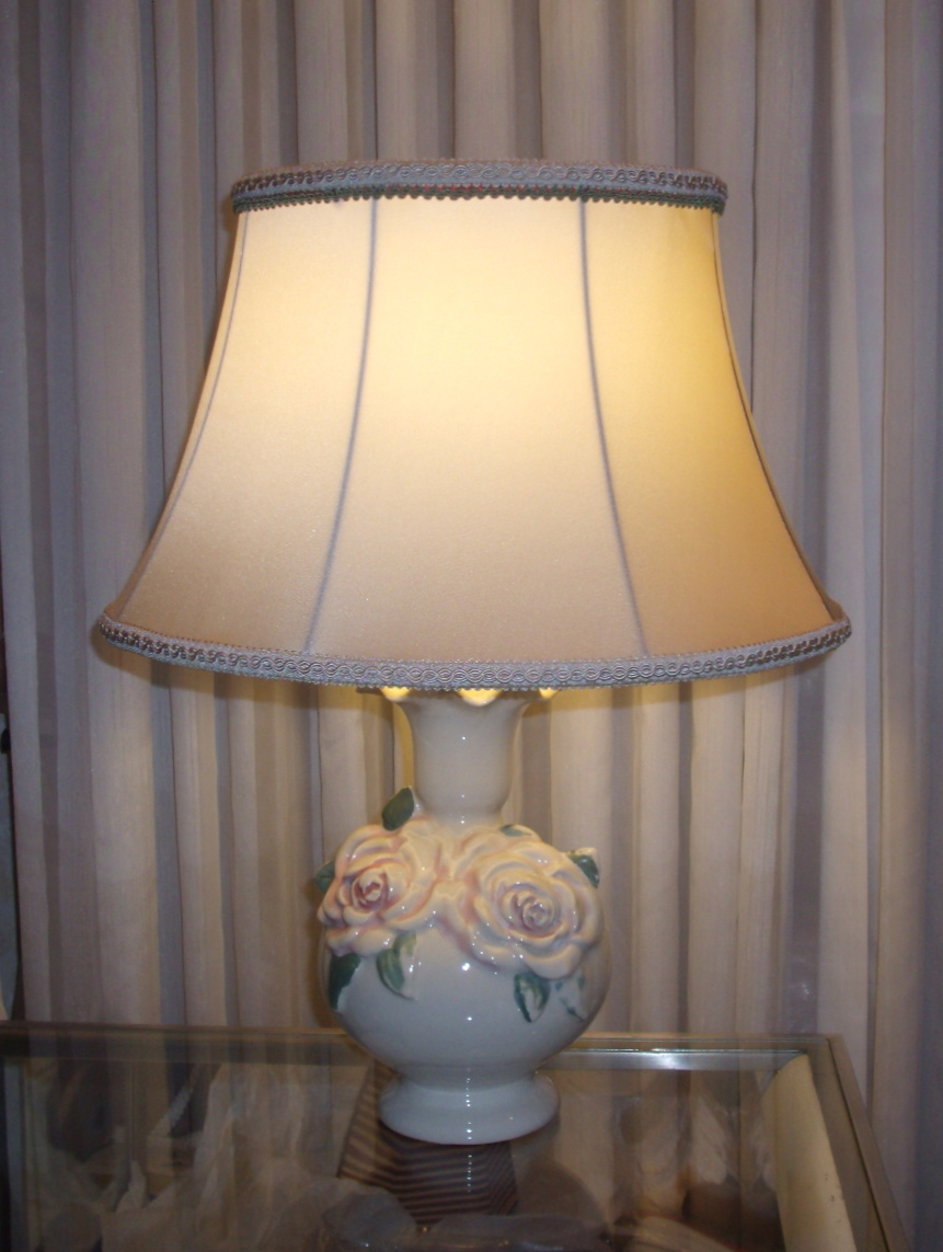 lampshade, silk, ceramic, lamp base, restored