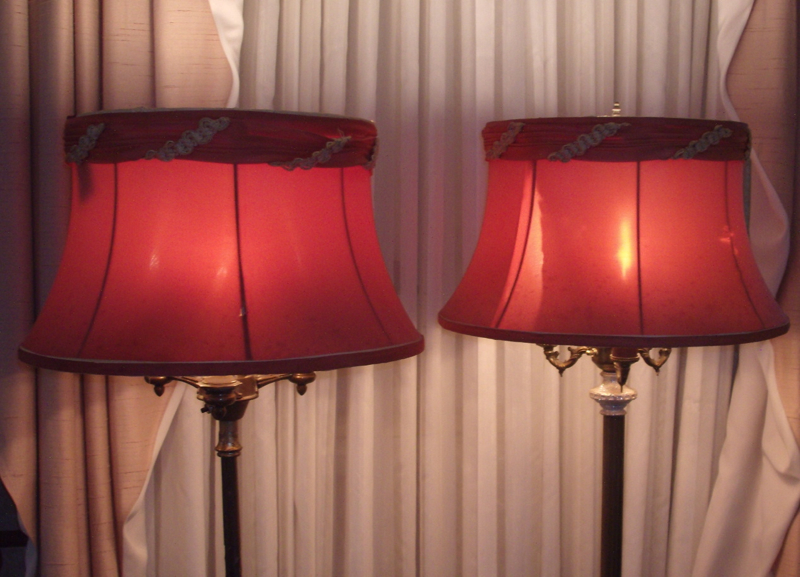 lampshades, vintage, bell, valance, torch floor lamp