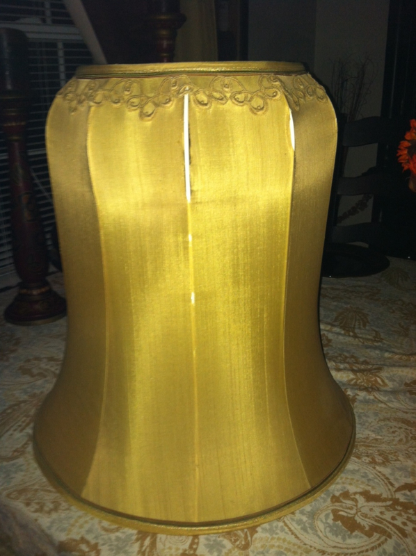 lampshade, vintage, bell, restore, recover, silk, antique