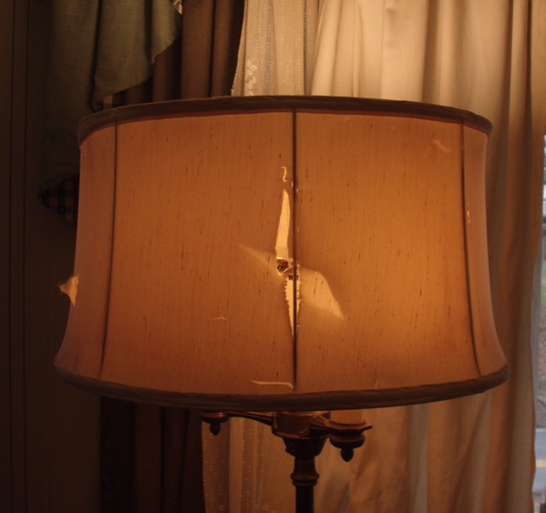 Lampshade restoration floor lamp fabric drum shade delivered for repairs aloadofball Image collections