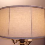 floor lamp, lampshade, linen, recovered