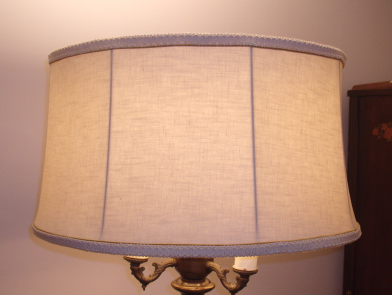 Floor lamp lampshade linen recovered