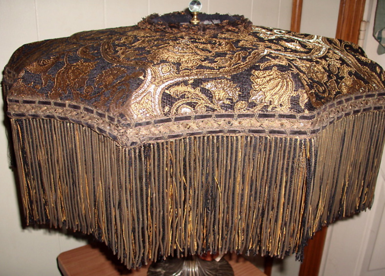 Lamp Lampshade Vintage Victorian Antique Fabric