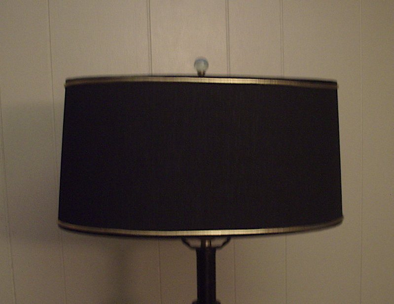 Oval Lampshade Red With Black Linen Styrene