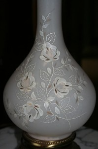 lamp base, glass, etched flowers