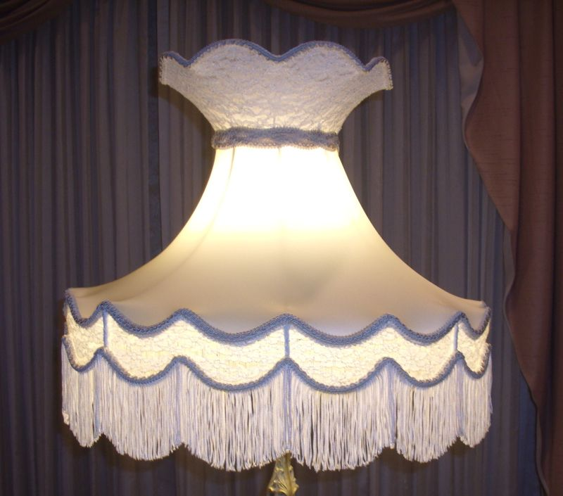 Old Fashioned Lamp Shade: lampshade, victorian crown, vintage, antique, lace, silk repair, restore,Lighting