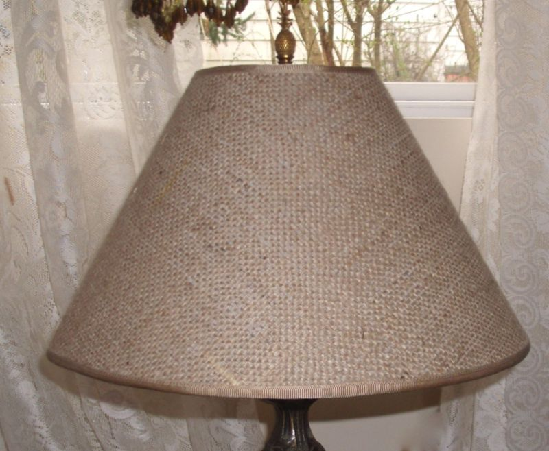 Burlap lampshade for antique jug lamp base lampshade burlap fabric laminated styrene shade aloadofball Choice Image
