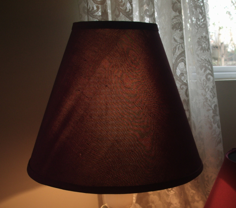 BLACK OUT LAMPSHADES RECOVERED WITH BURGUNDY SILK DOUPPIONNI