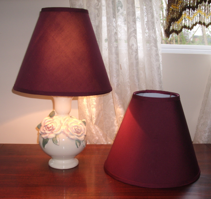 Black out lampshades recovered with burgundy silk douppionni lampshade recover silk restore shade aloadofball Image collections