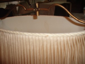 antique, lampshade, pleated, vintage, repair, replace, restore, sewn