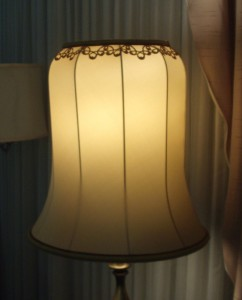 vintage, lampshade, recover, restore, silk