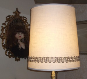 lampshade, vintage, recover, replace, restore, ivory linen