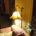 gooseneck, floor, lamp, restored