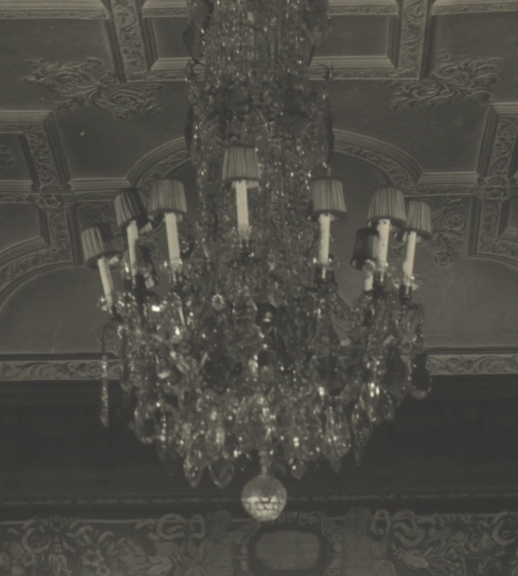 Music Room Chandelier 1930, historic, estate, akron, ohio, lampshade, restore