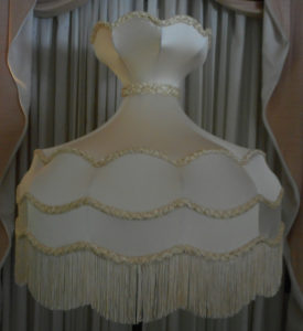 victorian, crown, charmeuse, silk, restore, lampshade,