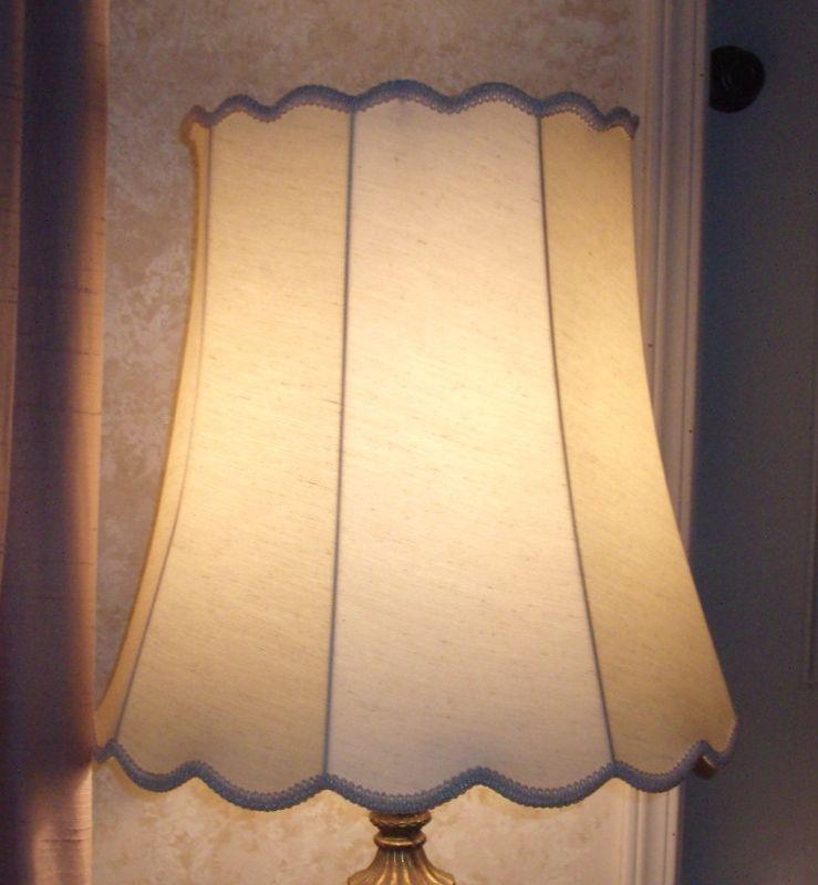 Fabric lampshades cover liner restored lampshade bell scallop frame shantung ecru cover restore repair aloadofball Choice Image