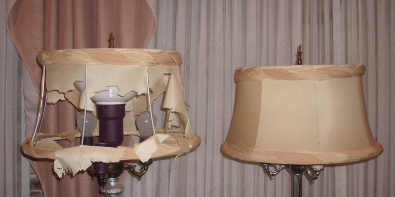 Fabric lampshades cover liner restored lampshades bell vintage restored replaced recovered shades aloadofball Choice Image