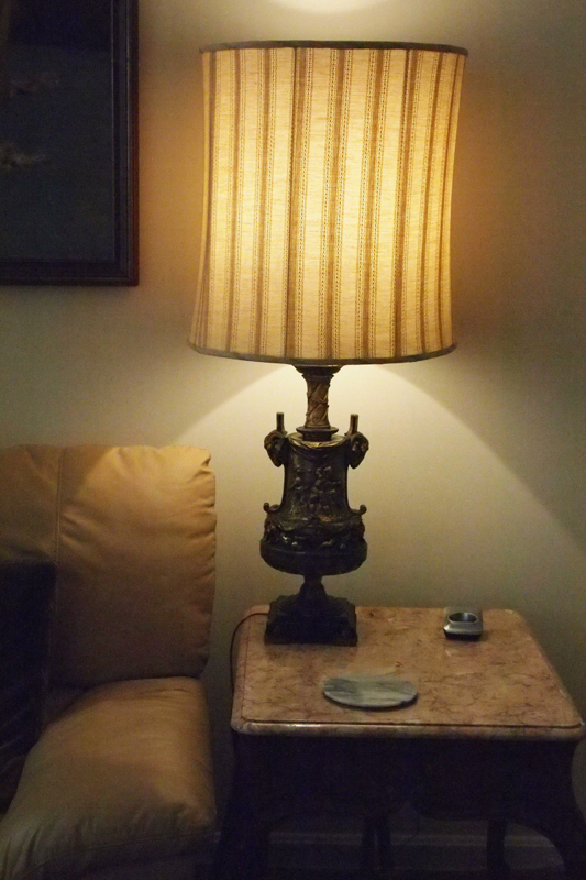 Homes with restored shades antique vintage lamp base french drum fabric striped shade aloadofball Choice Image