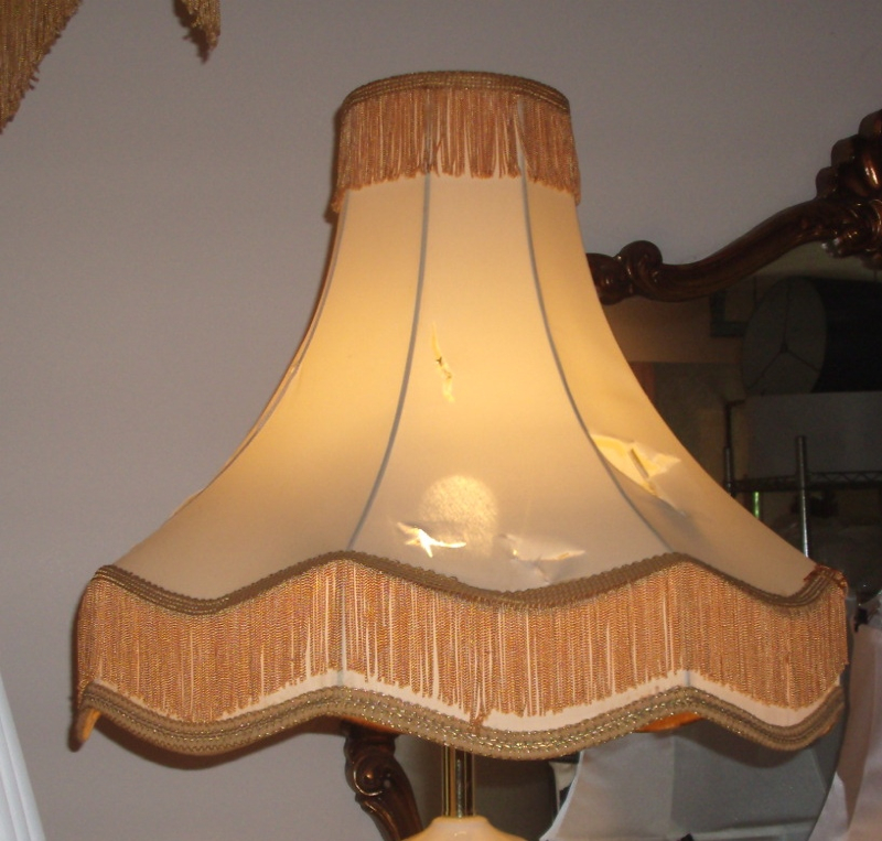 Lampshade Victorian Fringe Vintage Re Recover Repair Shade